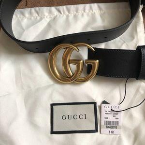 Women's leather double gg buckle belt